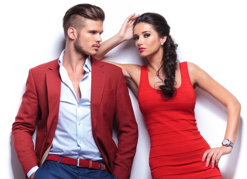 Man Woman Red Dress Blazer Dress Shirt