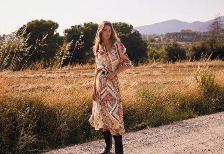 Mathilde Brandi stars in Mango Those Wonderful 70s editorial