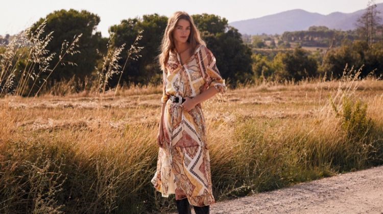 Mathilde Brandi stars in Mango Those Wonderful 70s editorial