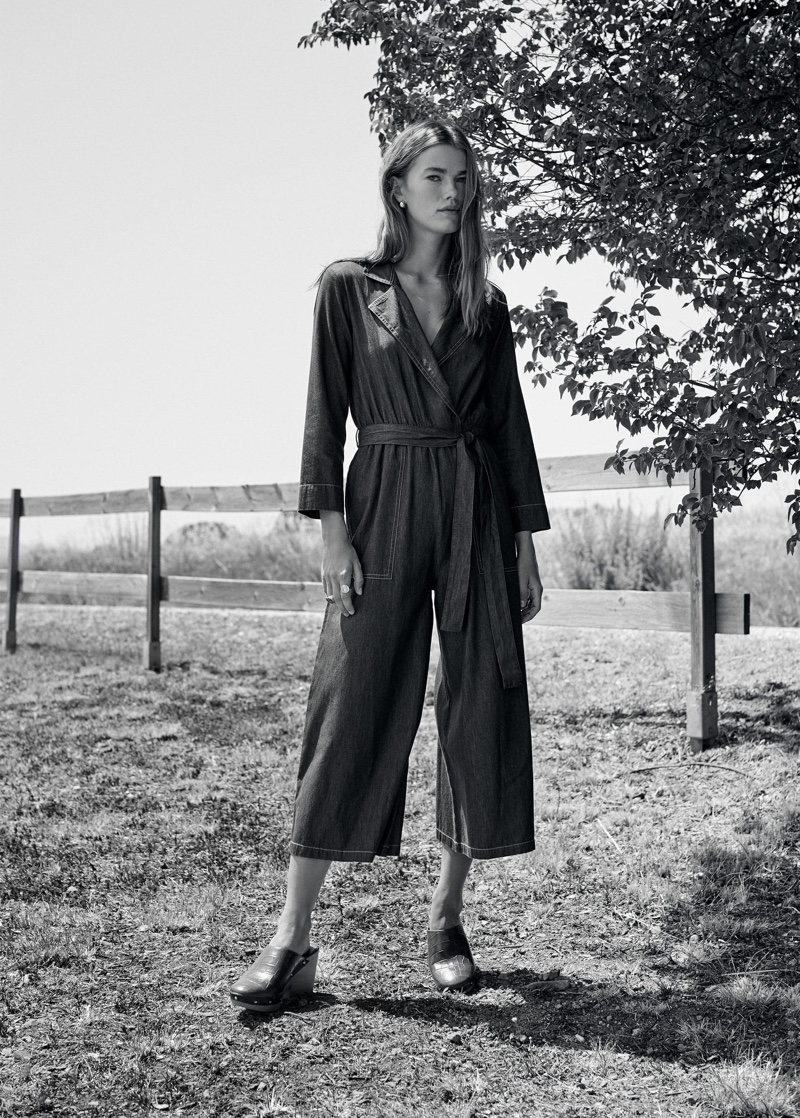 Mathilde Brandi poses in Mango denim style jumpsuit