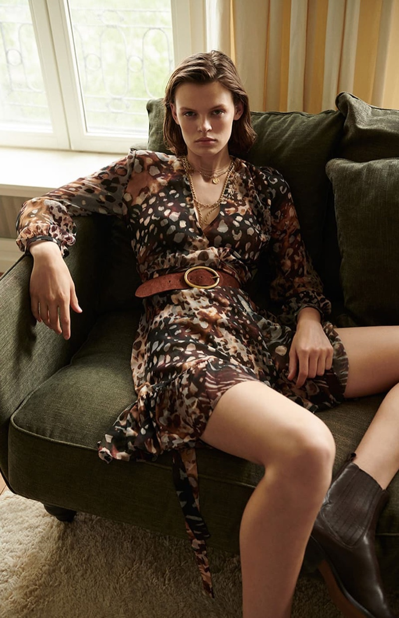 Massimo Dutti Printed Wrap Dress and Split Suede Belt