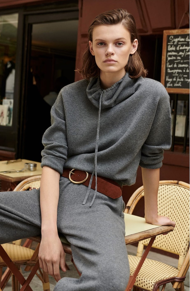Massimo Dutti Cape Sweater with Funnel Neck, Knit Culotte Fit Trousers and Split Suede Belt