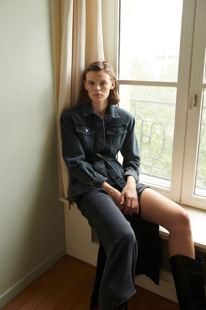 Massimo Dutti Denim Jacket with Pockets and Tie Belt, Cupro Dress with Buckle and Black Cowboy Boots