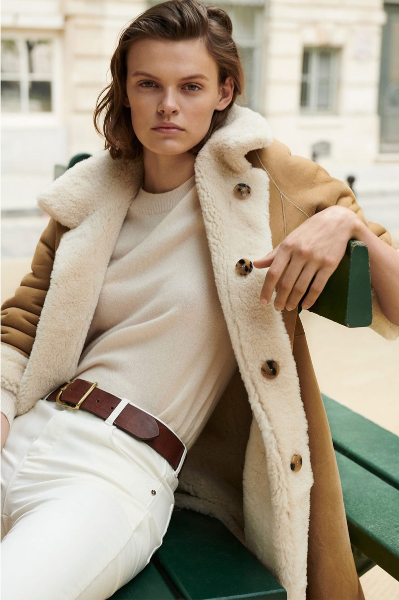 Cara Taylor wears reversible leather coat from Massimo Dutti
