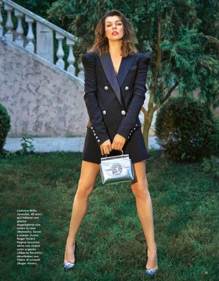 Milla Jovovich Wears Elegant Looks for Grazia Italy
