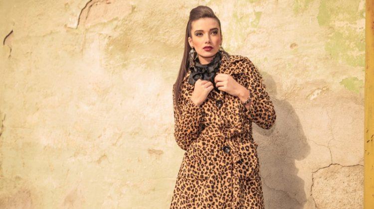 Model Ponytail Animal Print Coat