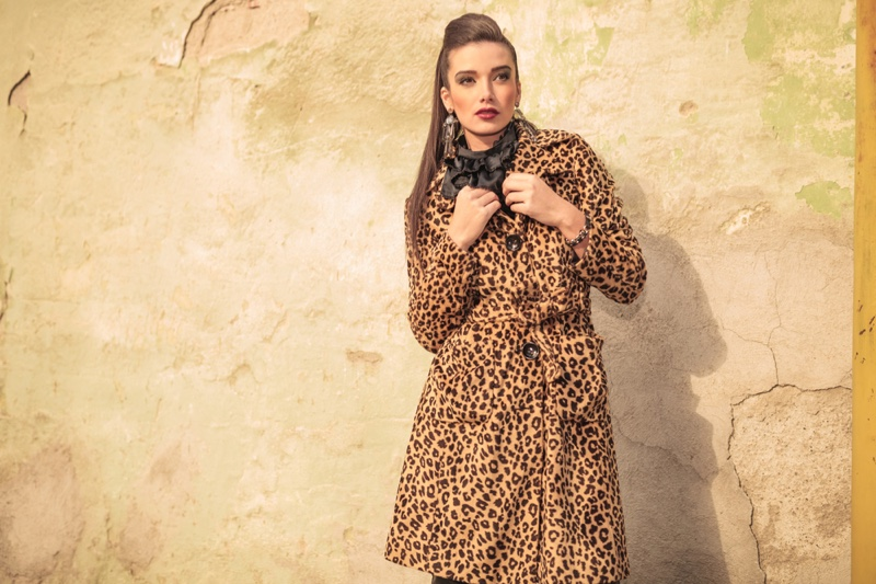 Model Ponytail Animal Print Coat