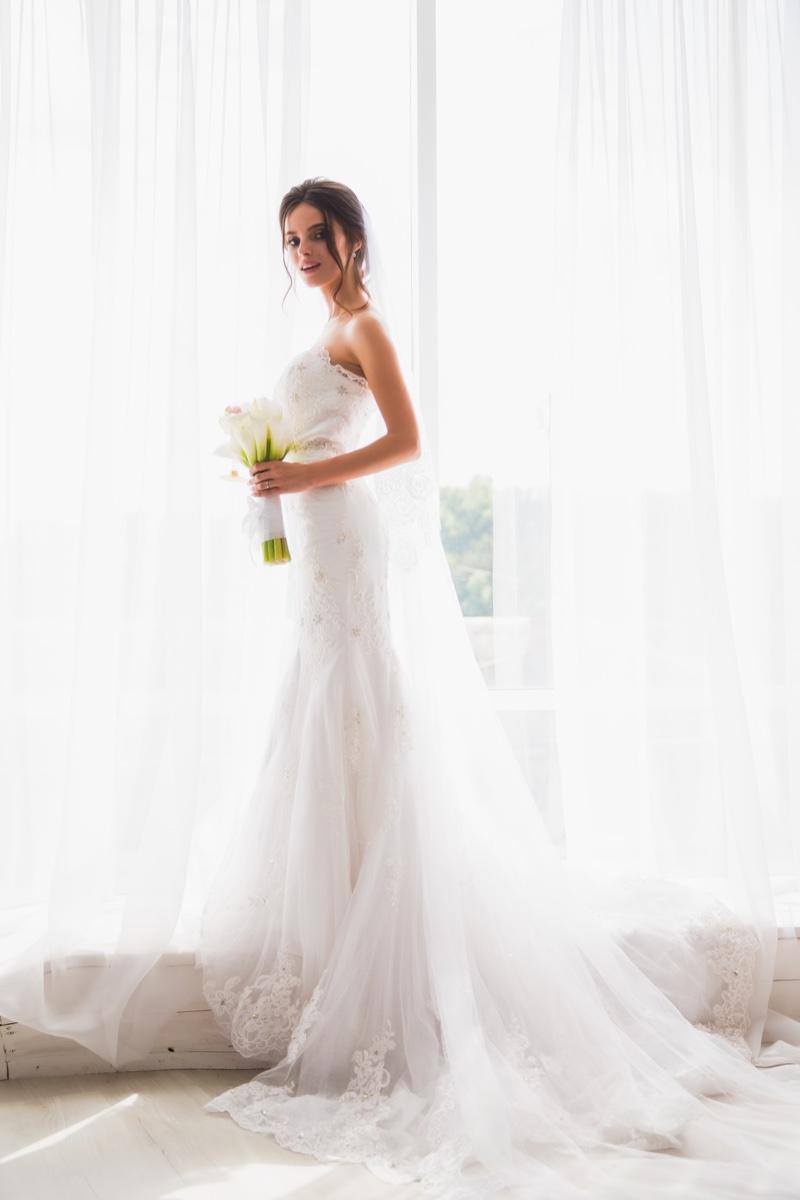Model Wedding Dress Lace Veil