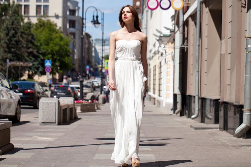 Model White Dress Streets
