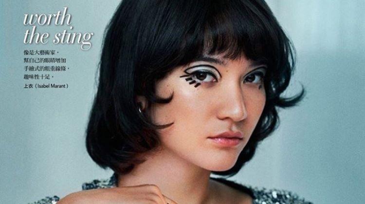 Mona Matsuoka Wears Eye-Catching Beauty for Vogue Taiwan