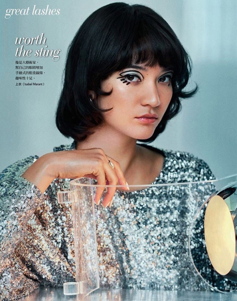 Mona Matsuoka Wears Eye-Catching Beauty for Vogue Taiwan