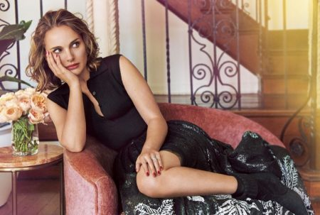 Clad in black, Natalie Portman lounges in Dior