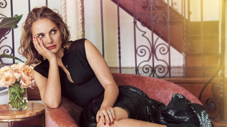 Clad in black, Natalie Portman lounges in Dior