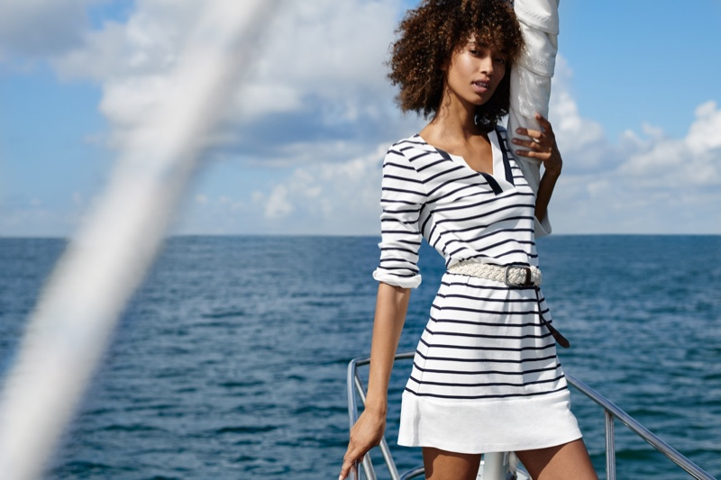 Model Anais Mali poses in stripes for Nautica fall-winter 2019 campaign
