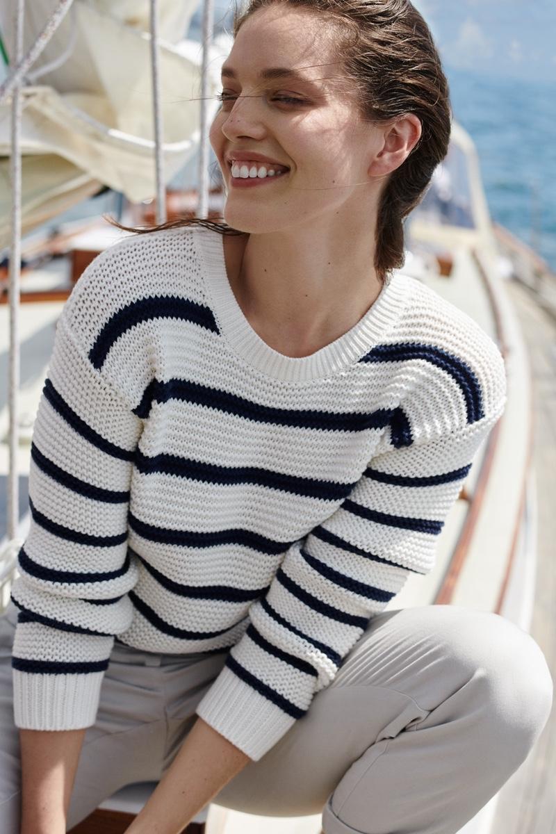 Model Emily DiDonato wears stripes in Nautica fall-winter 2019 campaign