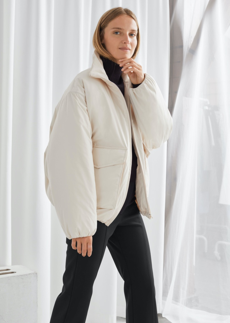 & Other Stories Boxy Padded High Collar Jacket $129