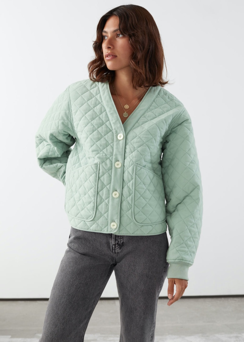 & Other Stories Boxy Quilted Jacket in Green $129