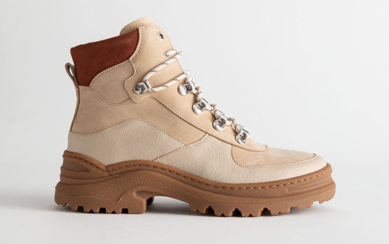& Other Stories Chunky Platform Hiking Boots in Beige $179