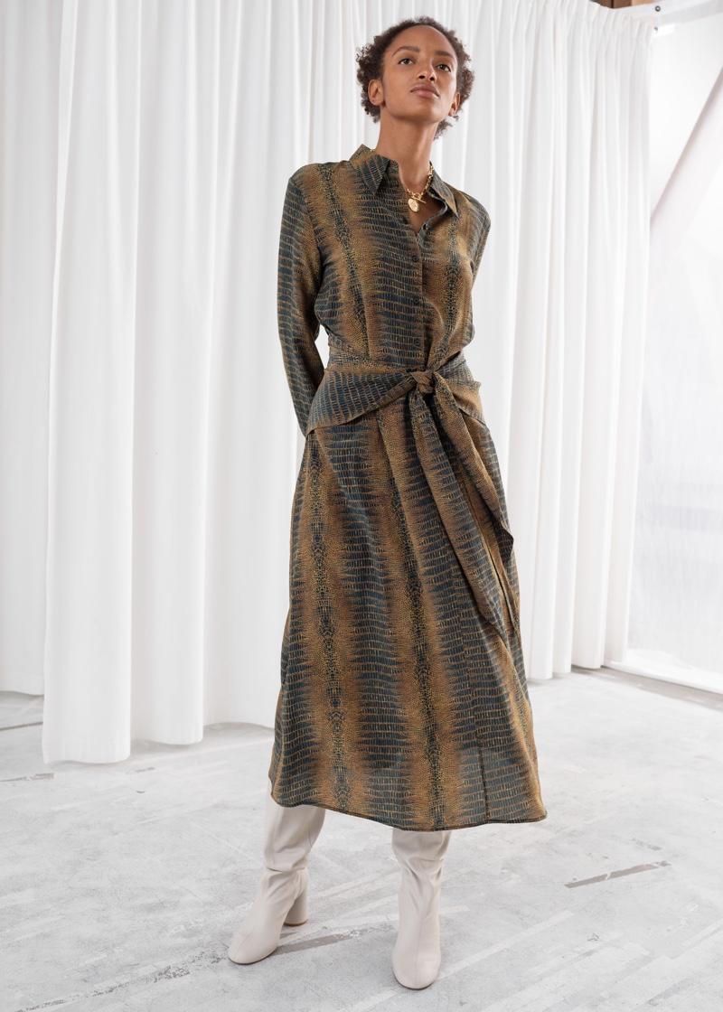 & Other Stories Croco Print Waist Tie Midi Dress $129