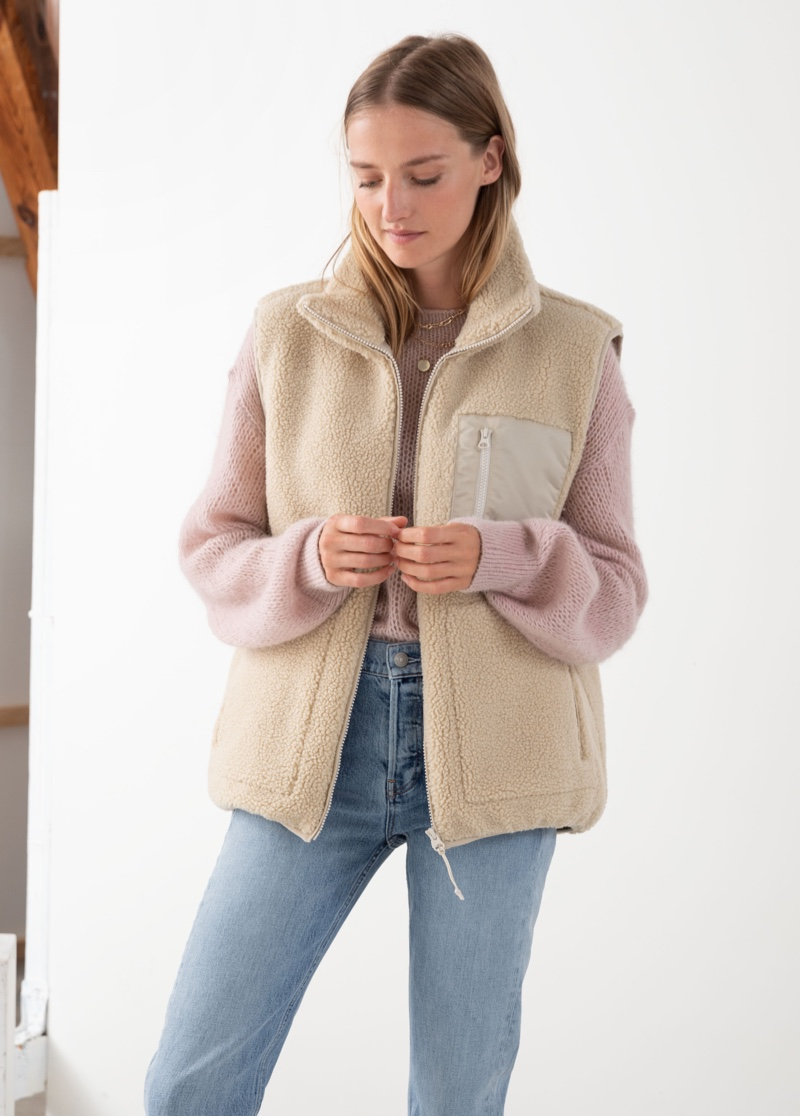 & Other Stories Faux Shearling Utility Vest $119