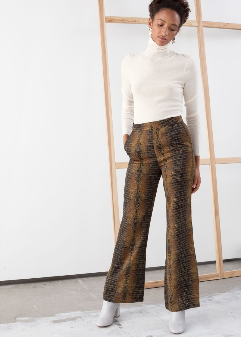 & Other Stories Flowy Tailored Croco Trousers $79