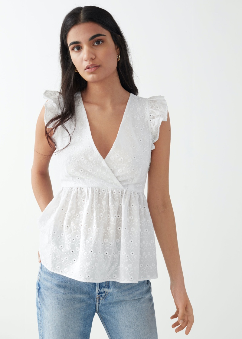 & Other Stories Frilled Embroidery Top $59