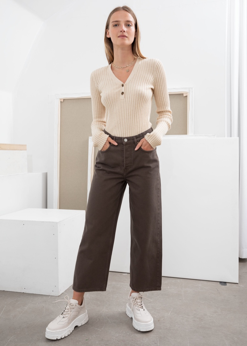 & Other Stories Loose Mid Rise Jeans in Brown $79
