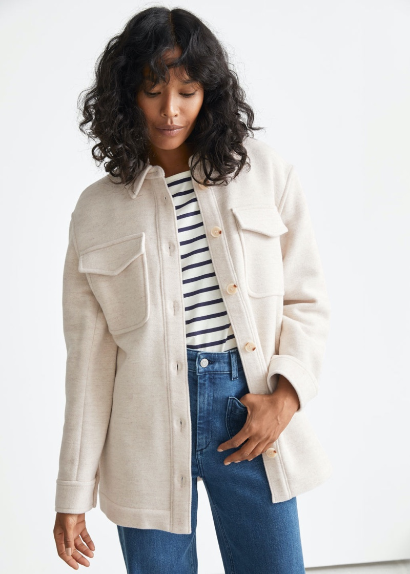 & Other Stories Oversized Belted Patch Pocket Overshirt $149