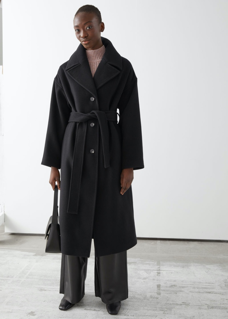 & Other Stories Oversized Belted Wool Coat in Black $279