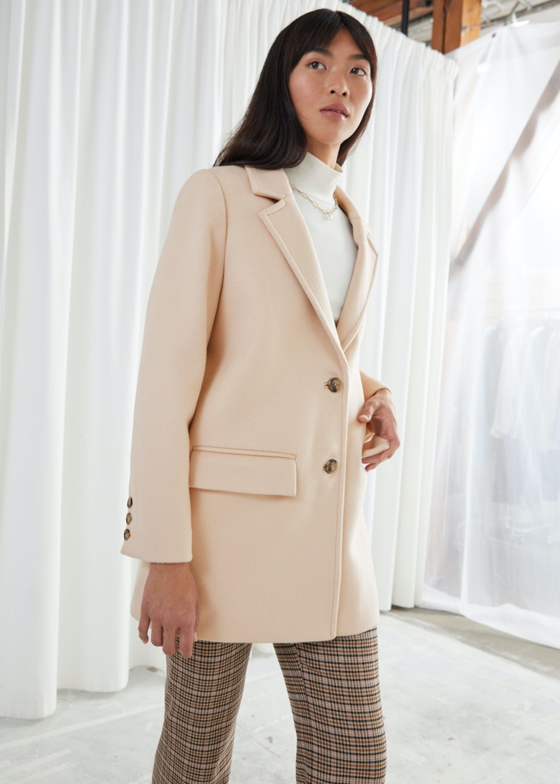 & Other Stories Oversized Single Breasted Blazer in Beige $219
