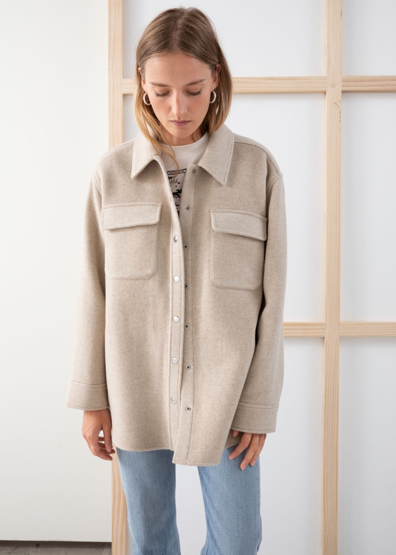 & Other Stories Oversized Wool Blend Workwear Shirt $149