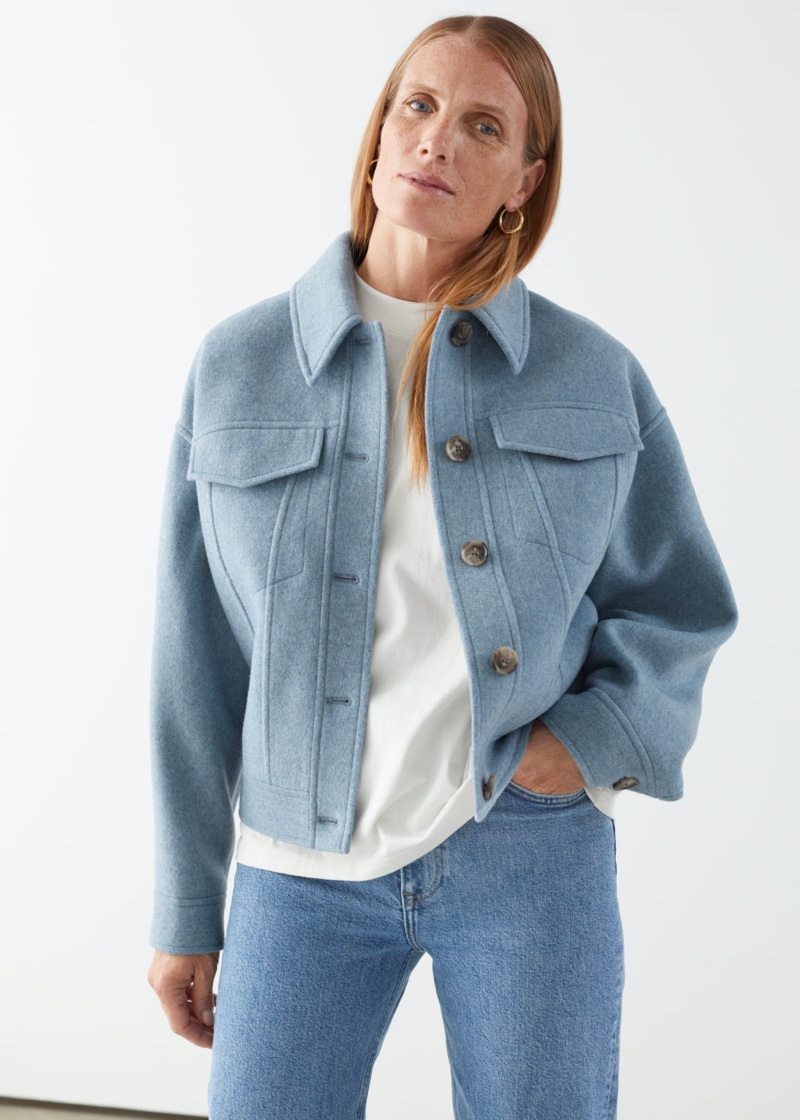 & Other Stories Oversized Wool Jacket in Light Blue $179