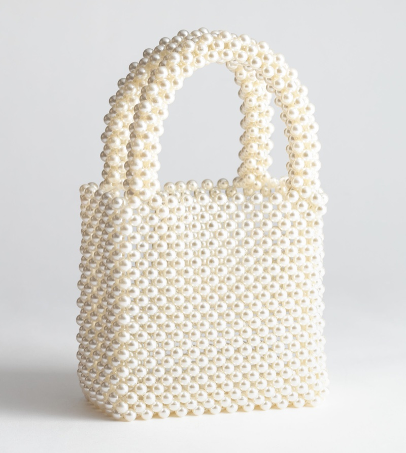 & Other Stories Pearlescent Beaded Clutch Bag $69