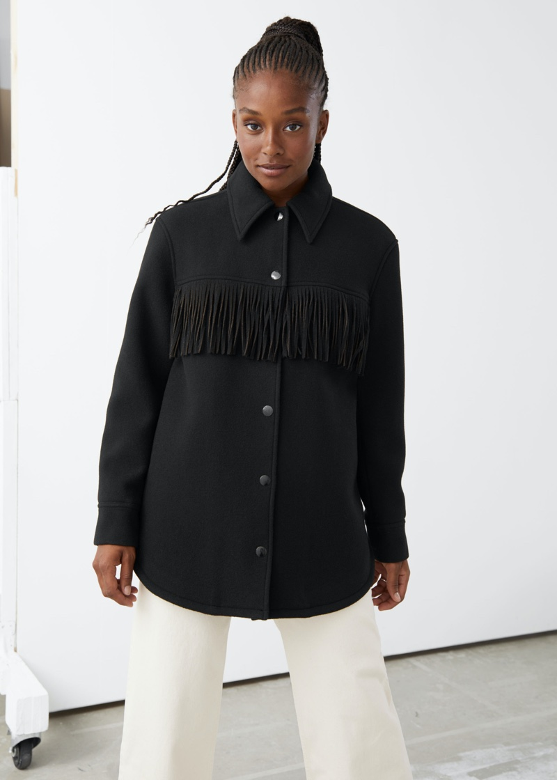 & Other Stories Relaxed Button Up Fringe Jacket $219