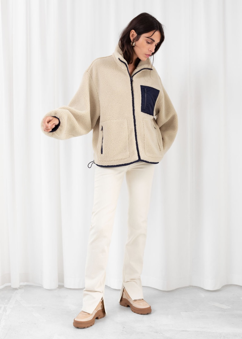 & Other Stories Relaxed Utility Fleece Jacket in Beige $149