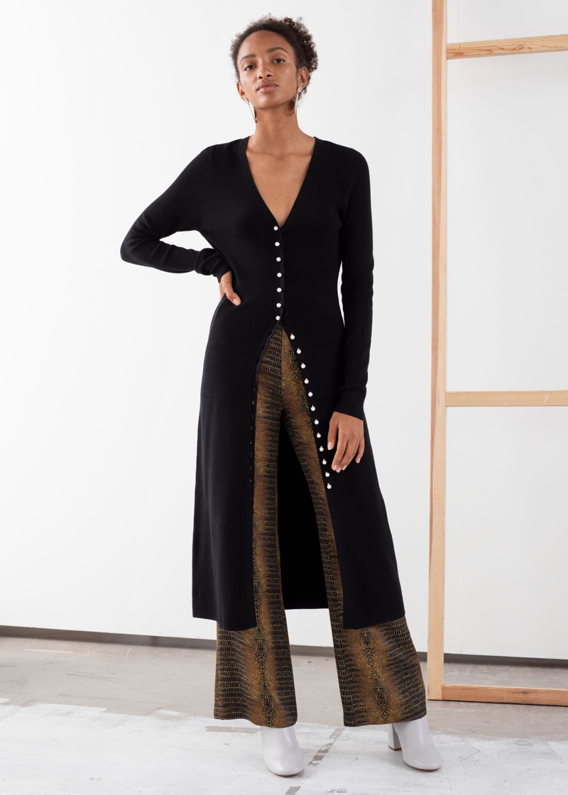 & Other Stories Ribbed Knit Button Up Midi Dress $119