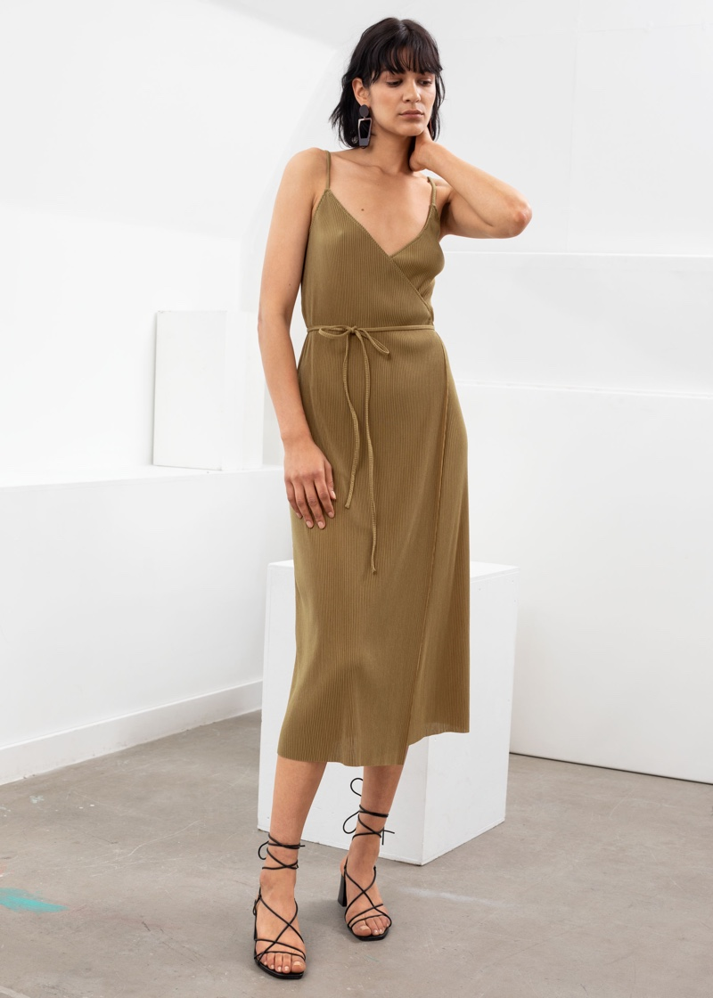 & Other Stories Ribbed Wrap Midi Dress $69