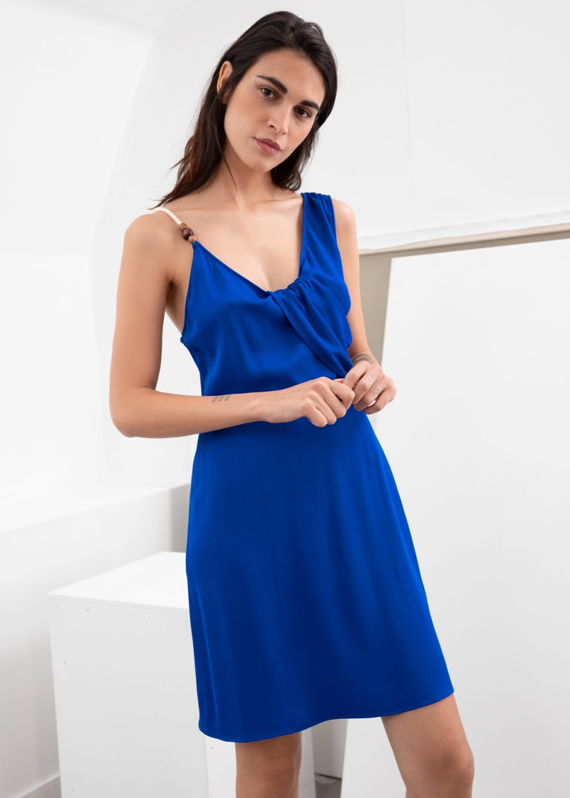 & Other Stories Rope Strap Draped Mini Dress $89