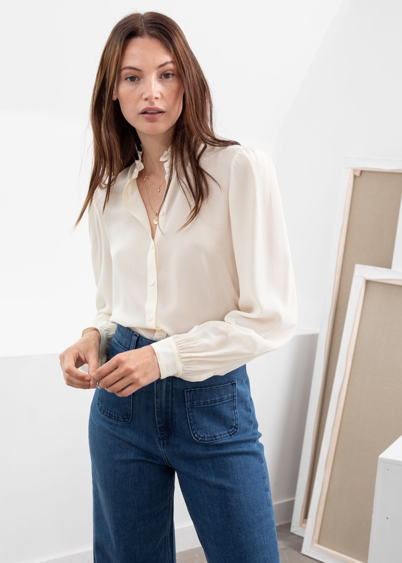 & Other Stories Ruffle Collar Silk Shirt in White $129