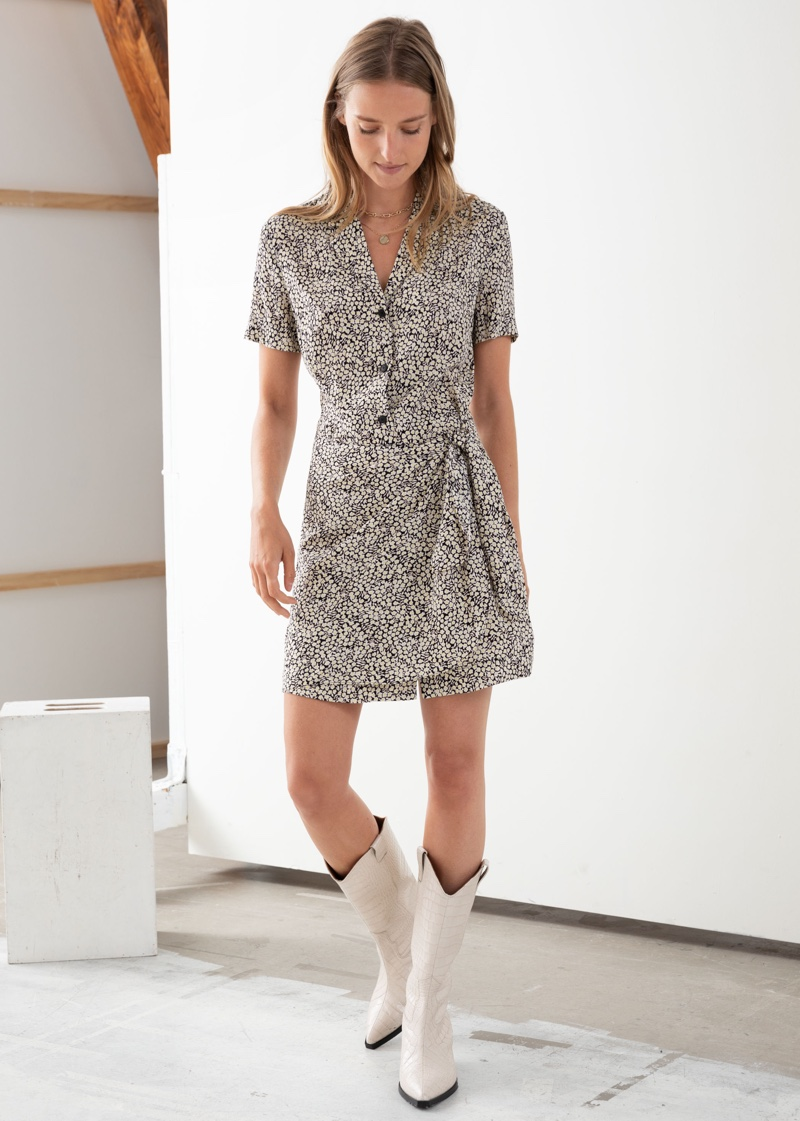 & Other Stories Side Tie Floral Dot Mini Dress $89