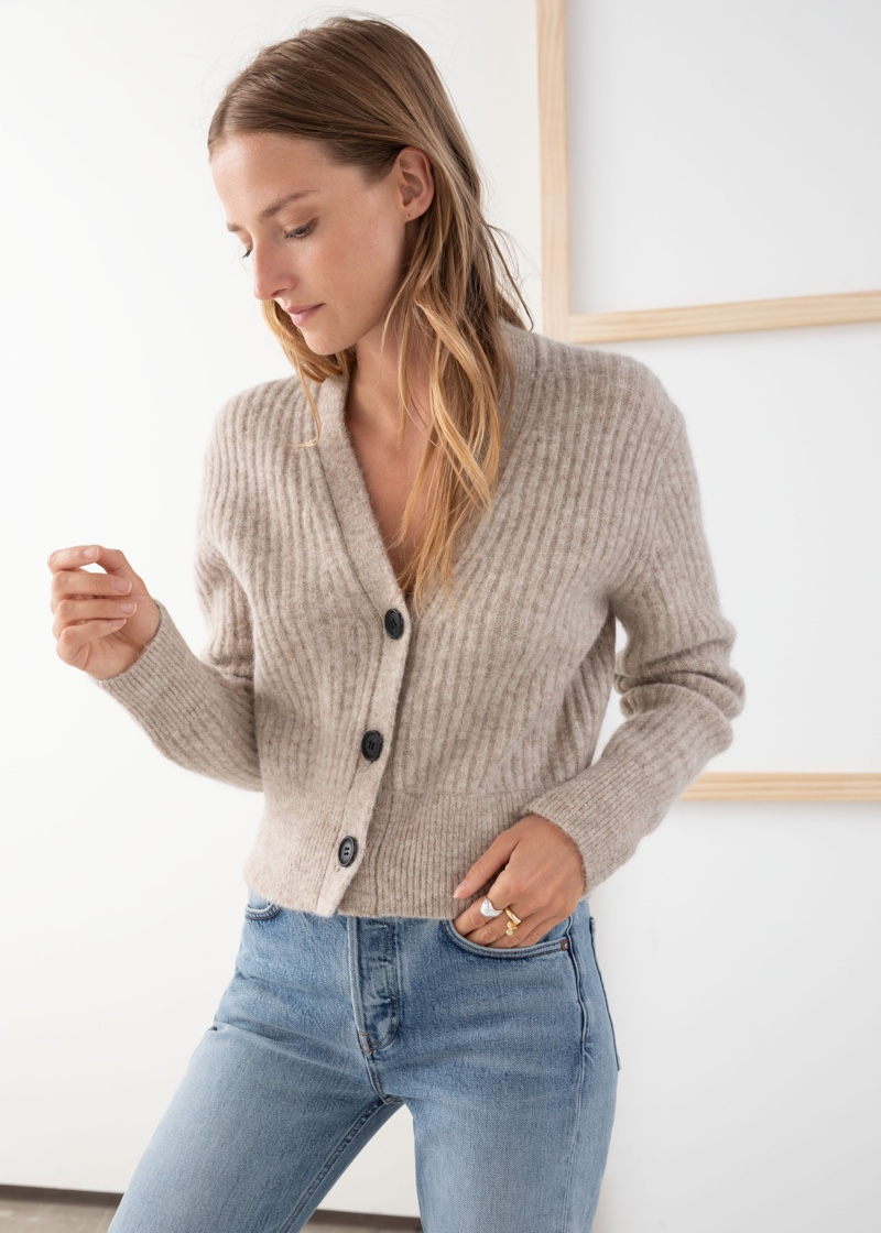 & Other Stories Wool Blend Cardigan in Oatmeal $119