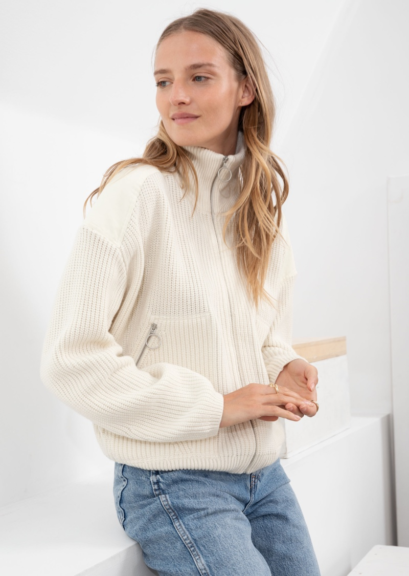 & Other Stories Wool Blend Zip Turtleneck Cardigan $119