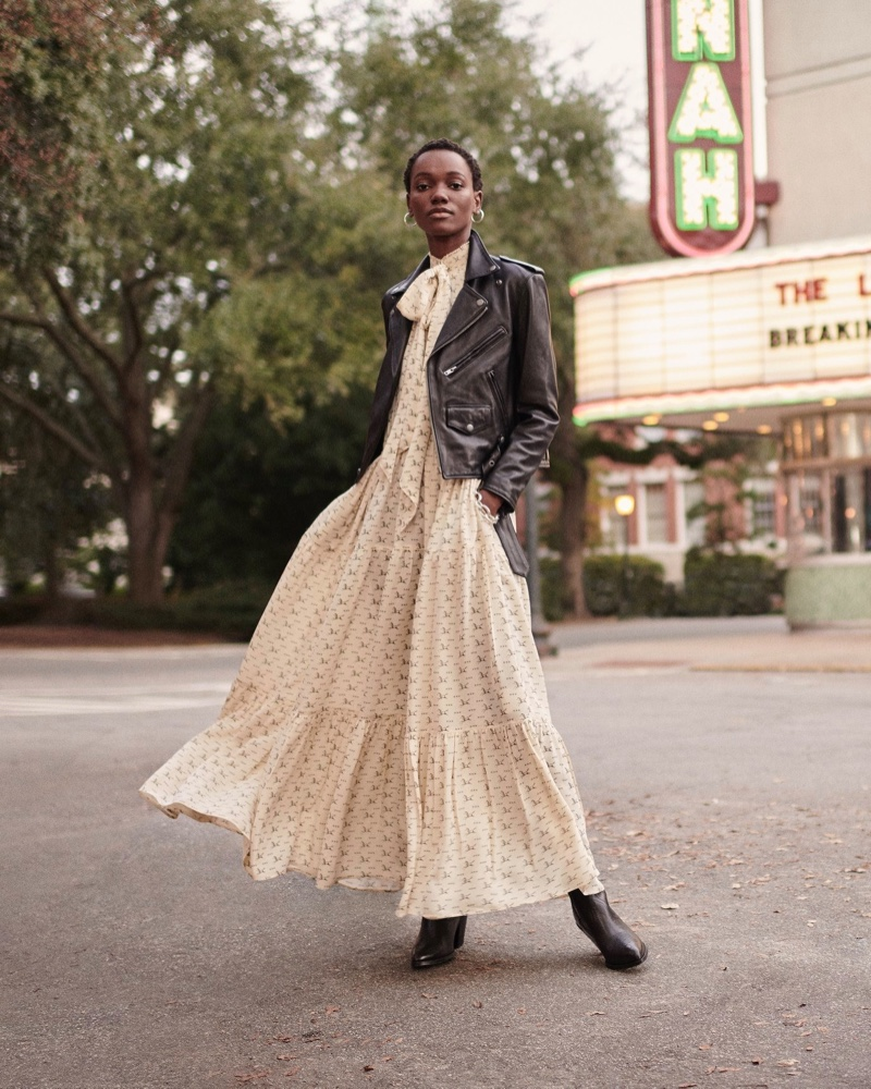 Herieth Paul layers up in Polo Ralph Lauren leather jacket and dress