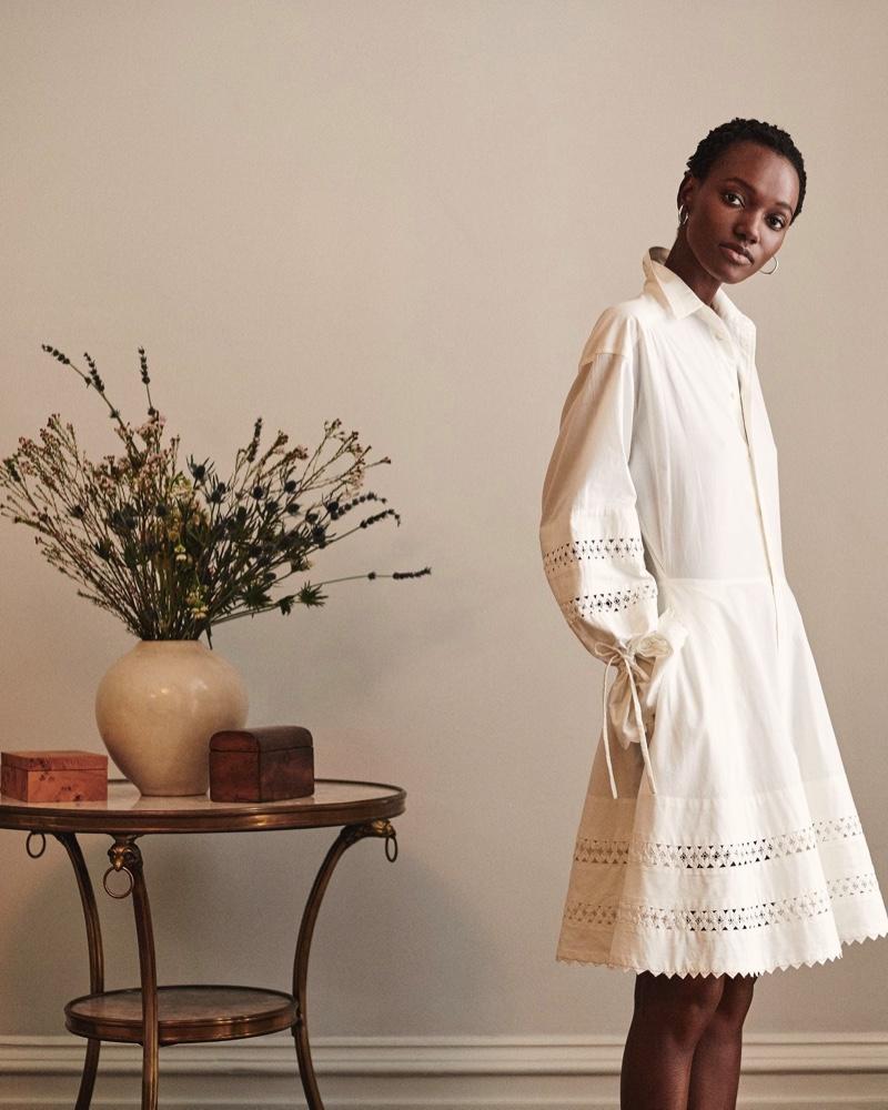 Model Herieth Paul wears white dress in Polo Ralph Lauren pre-fall 2019 campaign