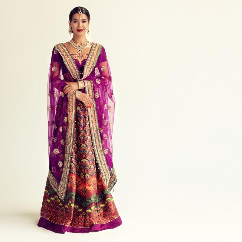 Purple Indian Costume Model