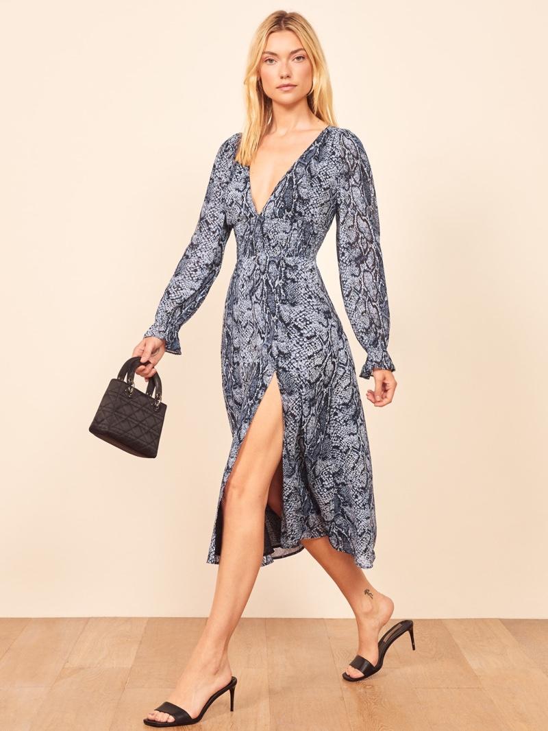 Reformation Aries Dress in Serpent $248