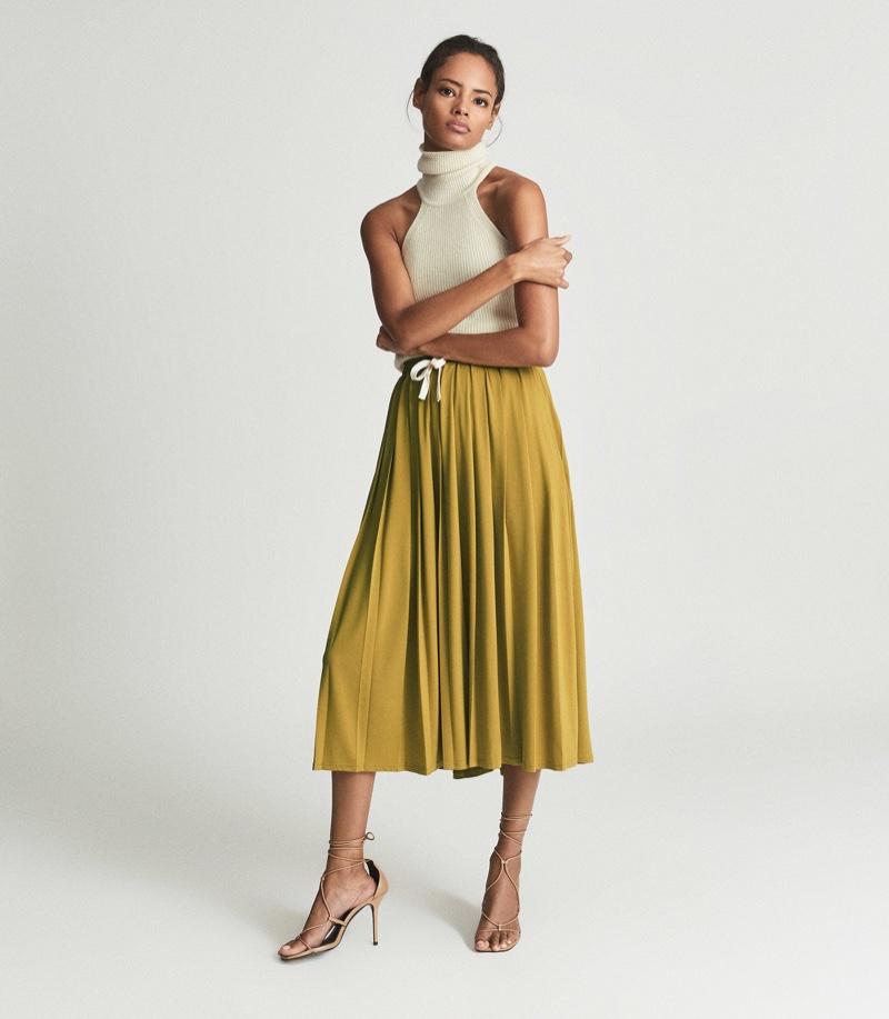 Reiss Ariella Fine Jersey Pleated Midi Skirt in Yellow $260
