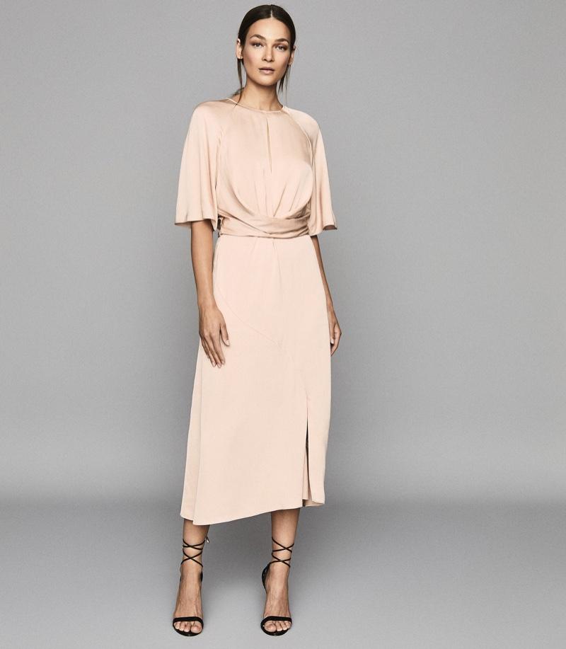 Reiss Arlo Half Sleeve Midi Dress $370