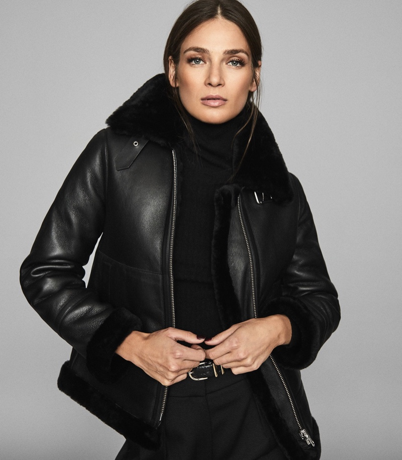 Reiss Belle Reversible Shearling Jacket in Black $1,685