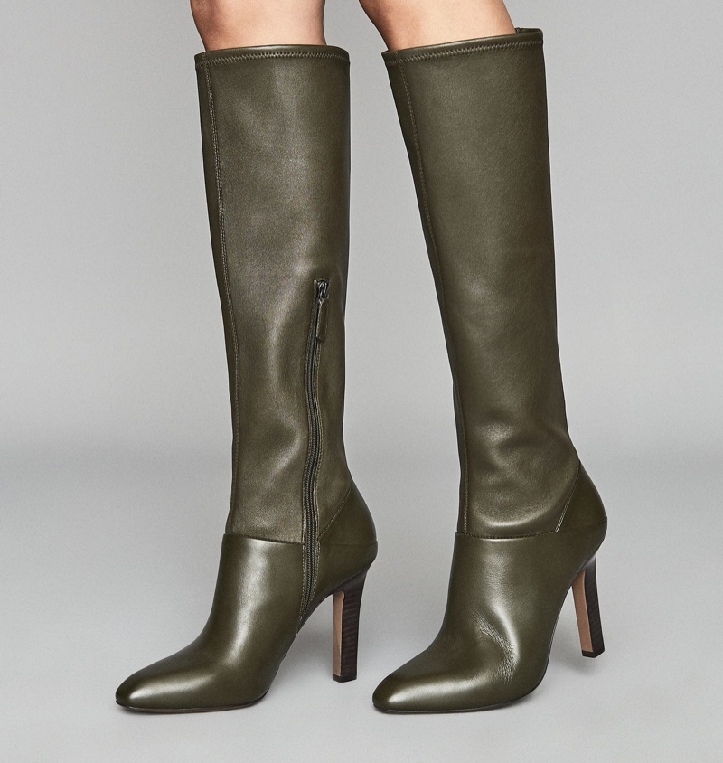 Reiss Cresida Leather Knee High Boots in Green $660